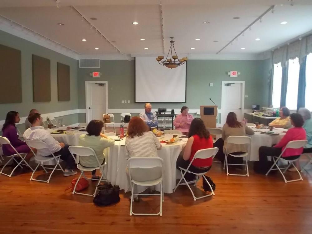 Journalists listen to David Hazinski and Carolyn Carlson at SPJ Georgia's journalism workshop.