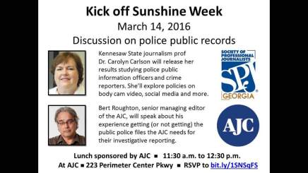 Kickoff to Sunshine Week, March 14